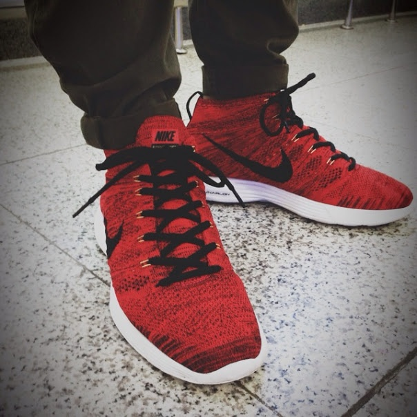 Nike Flyknit Chukka Blue Glow On Feet