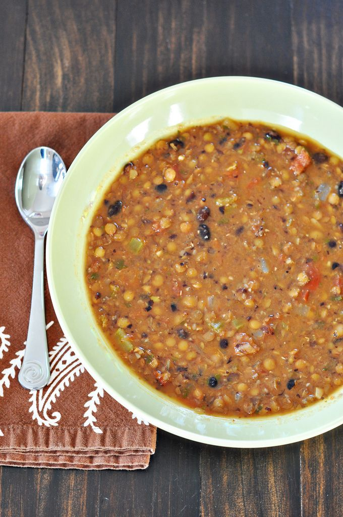 Lentil and Black Bean Soup with Sausage. Could make this a vegetarian soup by excluding the sausage.