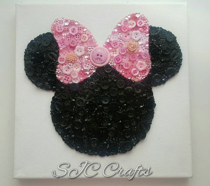 Disney Minnie Mouse Pink Bow Button Art on Canvas by ShaunnasCrafts on Etsy https://www.etsy.com/uk/listing/480106686/disney-minnie-mouse-pink-bow-button-art
