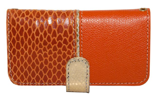 Mexico. Tangerine Leather phone case with gold flap. Wear it with its matching gold strap across body.
