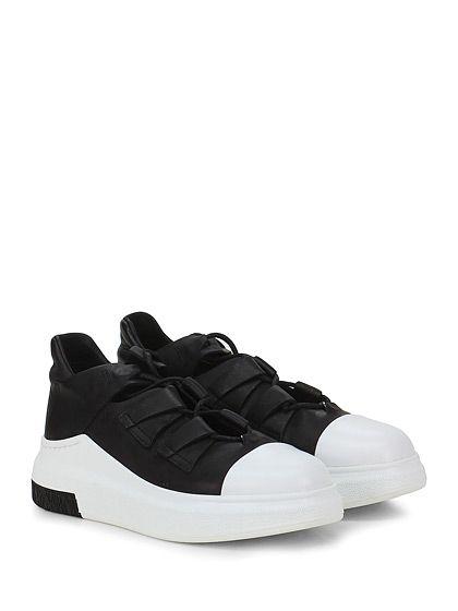 CINZIA ARAIA - Sneakers - Donna - Sneaker in pelle con allacciatura frontale e suola in gomma. Tacco 45, platform 30 con battuta 15. - BIANCO\NERO - € 425.00