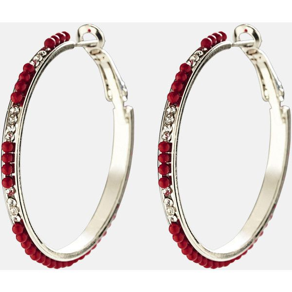 Avenue Red Studded Hoop Earrings ($2.88) ❤ liked on Polyvore featuring jewelry, earrings, plus size, red, metal stud earrings, studded jewelry, artificial jewellery, metal earrings and fake jewelry