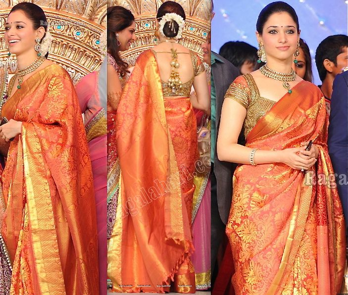 Tamannah looked lovely in her kanjeevaram sari paired with a Neeta Lulla blouse at Ram Charan and Upasana's Reception. Love the flowers. Tamannah At Ram Charan-Upasana Kamineni Wedding Reception Photo Credit: Ragalahari Read More. Guilt-free.In AttendanceSwayamvar StyleSari StyleIn Neeta Lulla