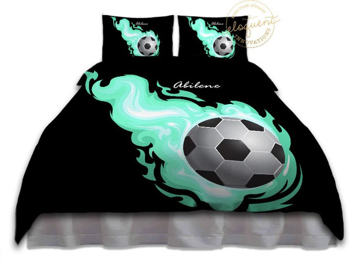 Soccer Ball Bedding Comforter Aqua Flames Soccer