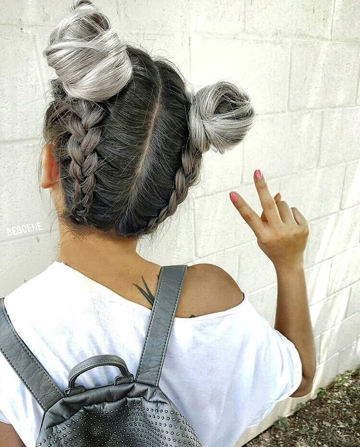 Space buns with Dutch braid going up the back of the head  | The secret inspirer