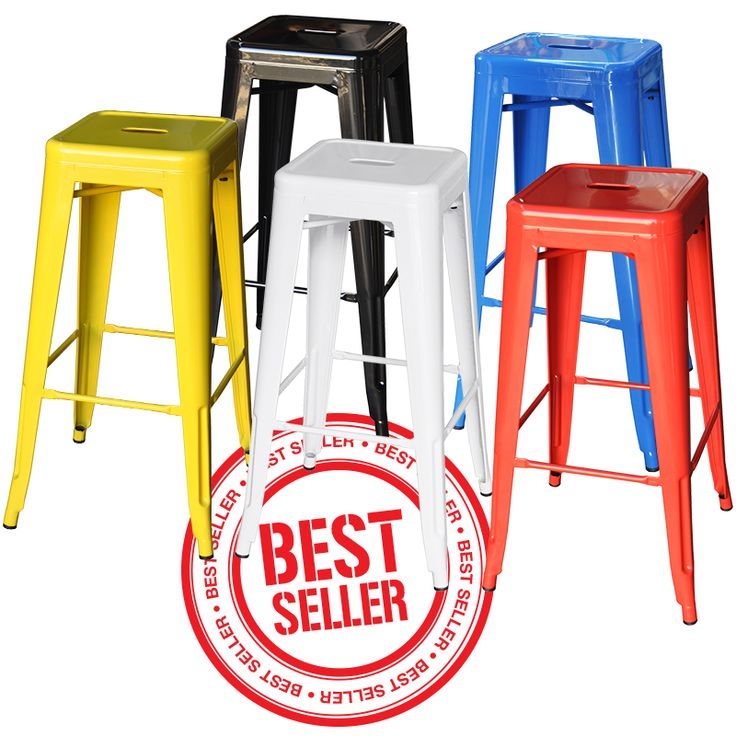 Bar height replica Tolix stool. A range of bright colours and a strong powder coated steel frames will withstand the rigours of commercial use