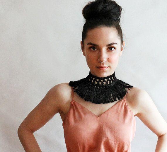 black fringe choker | PALOMA | boho chic choker necklace, fringe necklace, statement choker, boho choker, statement choker, festival