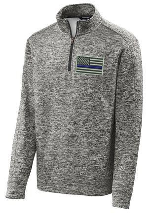Thin Blue Line Flag Embroider SportTek® PosiCharge® Black Electric Fleece 1/4-Zip Pullover