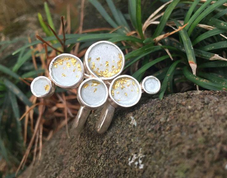One of a kind enamel ring with transparent white enamel and golden leaves – Folt Bolt Shop