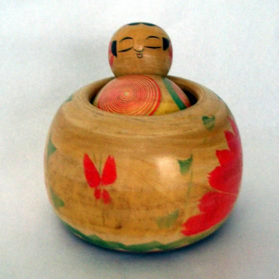 Wooden Old Japanese Ejiko Kokeshi Doll From Japan