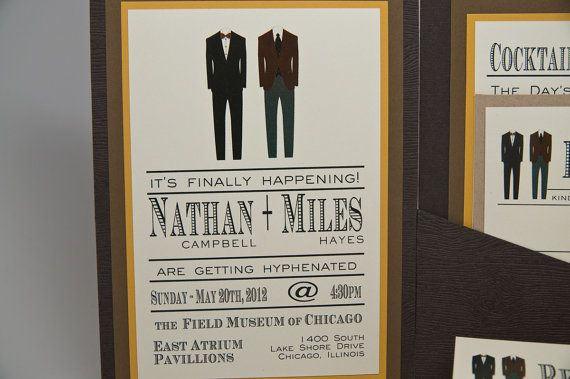 Lgbt Wedding Invitations: Masculine Wedding Invitations Featuring Two Suits NATHAN