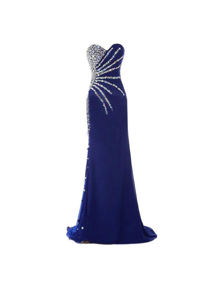 Sweetheart Strapless Prom Dresses,Rhinestone Prom Dresses,Floor Length Prom Dresses