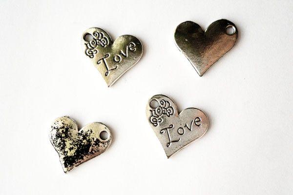 Heart Charm - Antique Silver $0.39CAD #craftdeville #love #heart #charm