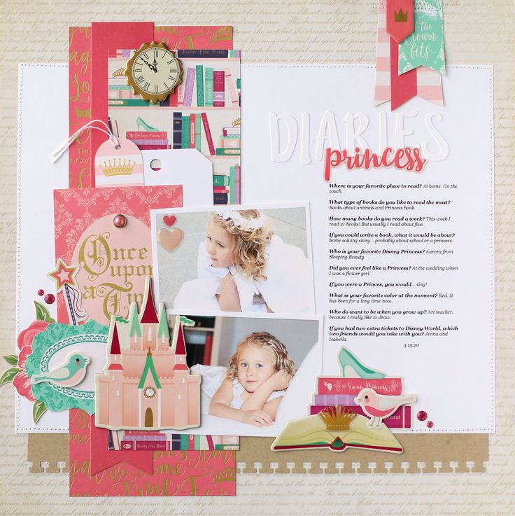 "Princess Diaries layout - ""Once Upon a Time"" collection by Echo Park Paper"