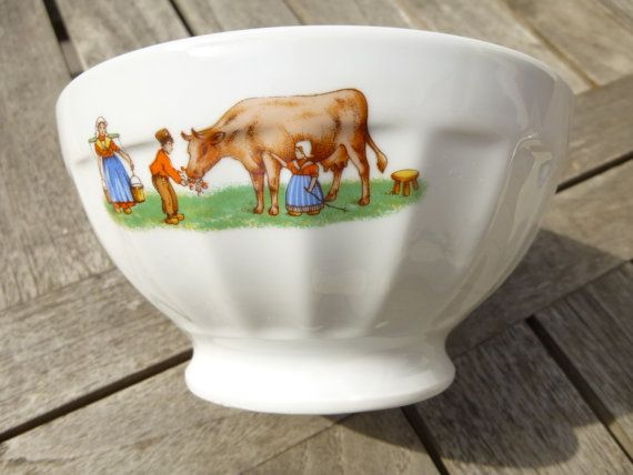 Bowl french vintage white porcelain to rustic decor - naive Image of cow milk and children in a meadow