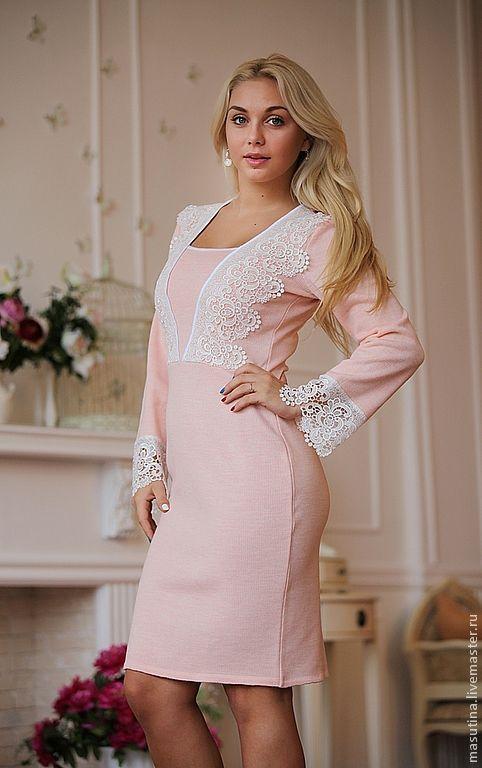 """Купить Платье """"Барби New"""" - розовый, платье с кружевом, вязаное платье, Розовое платье"""