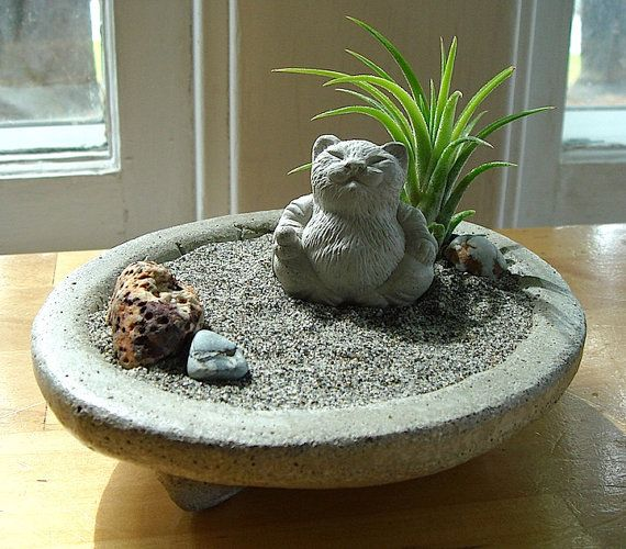 SALE Lucky Cat Buddha Sculpture in Zen Garden Air от TyberKatz