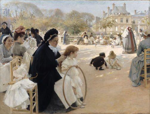 Albert Edelfelt: Pariisin Luxembourgin puistossa (1887) VTM/KKA/Hannu Aaltonen