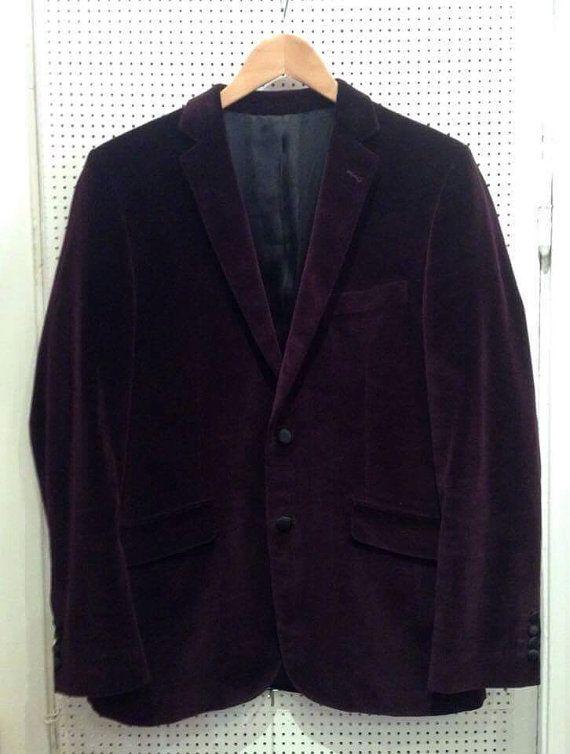 Vintage velvet blazer dark plum color EV50.