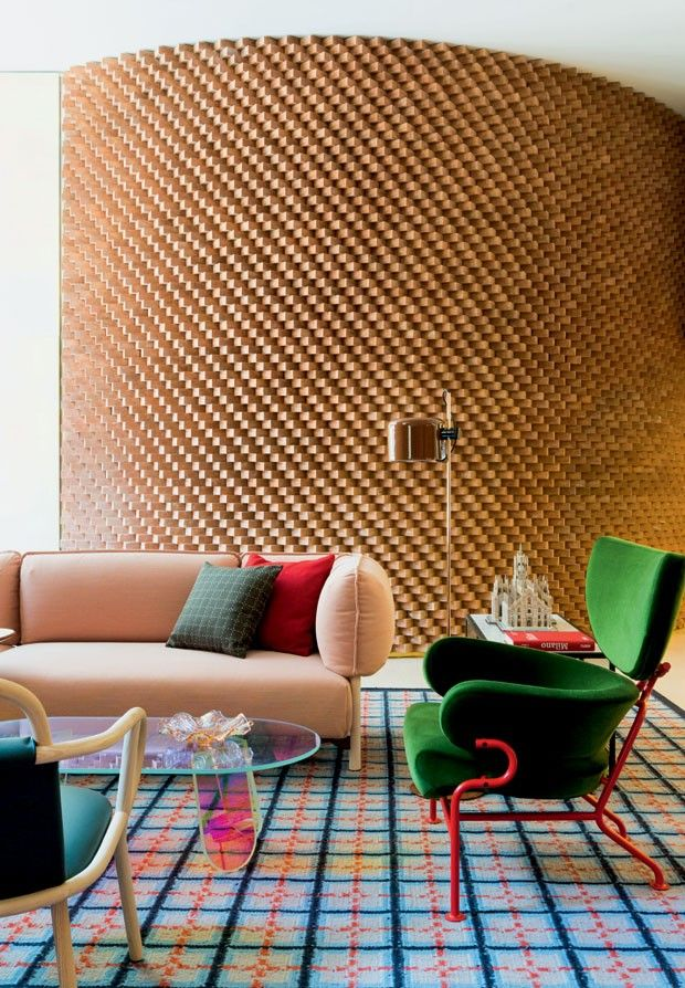 Tre Pezzi chair inside the new Room Mate Hotel Giulia in Milan by Patricia Urquiola. Available from Cassina.