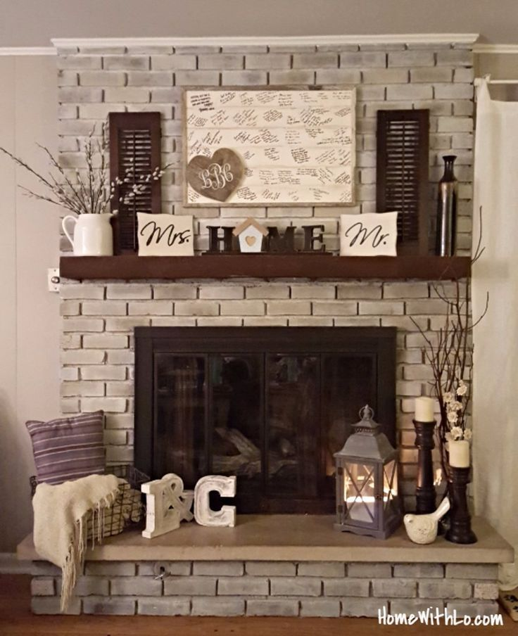 Grey brick fireplace with ledge