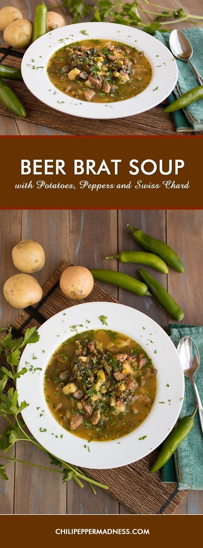 Beer Brat Soup with Potatoes, Peppers and Swiss Chard Recipe - Made ...