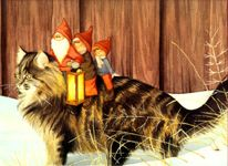 """Christmas placemat, """"Tomtar on Cat"""" by Lena Petersson. (I have this)"""