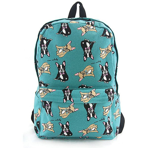 Sleepyville Critters Green Boston Terrier Backpack ($20) ❤ liked on Polyvore featuring bags, backpacks, tote backpack, green backpack, blue tote bags, green tote and zip tote