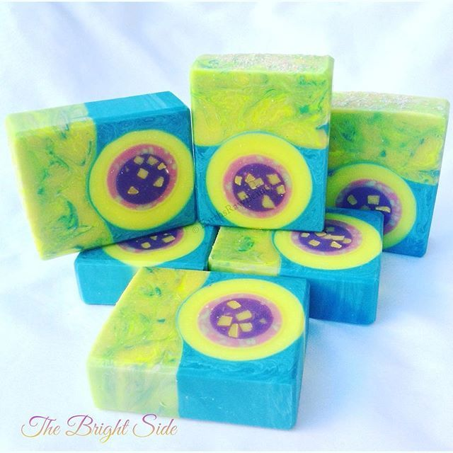 """The Bright Side"", goats milk soap scented with a blend of lemon, kumquat, lime, ginger, watermelon, raspberry and vanilla."