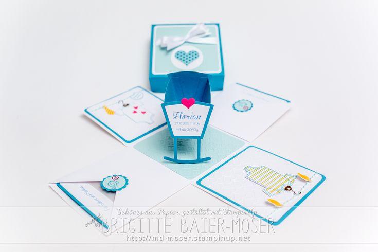 Explosionsbox zum Thema Baby + Geburt. Gestaltet von Brigitte Baier-Moser mit den Werkzeugen von Stampin'Up!