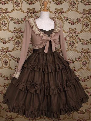 Mary Magdalene Caldina Frill OP (means one piece dress) in Chocolat, with detachable waist ribbon. Also in strawberry and shell rose. Cardigan not included.