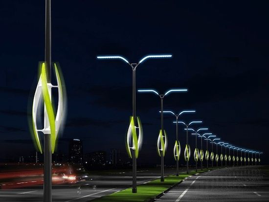 The Turbine Light concept harnesses the power of the wind from cars rushing past…