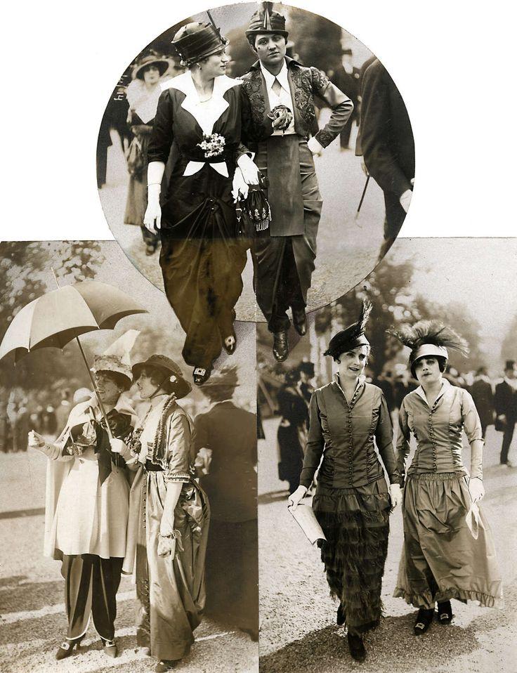 14-11-11  Damesmode. Op de renbaan van Longchamps laten modellen de laatste mode zien.De mode is in alle gevallen lang; de blouses, jakjes en jasjes zijn getailleerd en de hoeden hebben meestal een veer.Capes, borduursels en bloemcorsages van stof zorgen voor de versiering. Longchamps, Frankrijk, 1914.