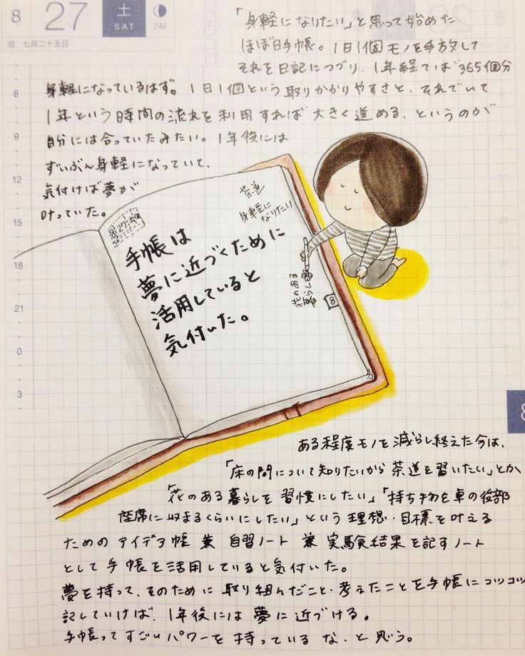 夢と手帳があれば、夢は叶う 「身軽になりたい」と思って始めたほぼ日手帳。 1日1個ものを手放してそれを日記につづり、一年経てば365個分身軽になっているはず!と思って、断捨離日記を書き始めました。 コツコツ続ければ一年という時間の流れを利用して365歩分、進みたい方向へ進めます。 その時間のパワーを最大限活用するためのツールが手帳なのかな、と思います。 instagram@ofumi_3 夢と手帳があれば、夢は叶う 夢を叶えるために考えたこと・取り組んだことを書くノート 書くことで無意識的に引き寄せるのは、アンテナが育つから 手帳を活用すれば夢に近づける