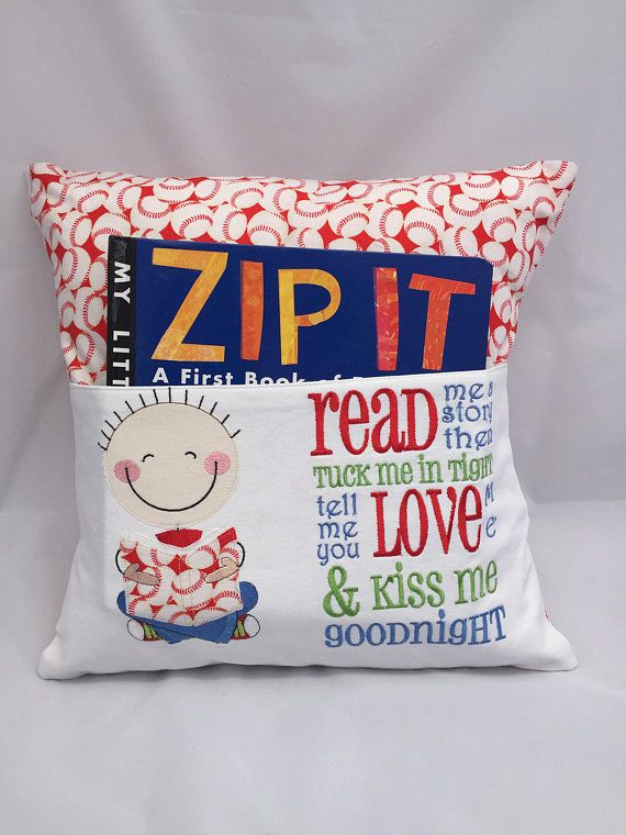 Grab your pillow with your favorite book inside the pocket and head to bed, or travel anywhere you want! Add a flashlight and a small stuffed animal and you are all set for a night at Grandmas house. Reading pillows make a great gift for friends or family. This cute pillow features Baseball Fabric with a little boy reading with a poem that reads:  Read me a story Then tuck me in tight Tell me you love me And kiss me goodnight!    To save you on shipping costs, this is the cover only. You can…