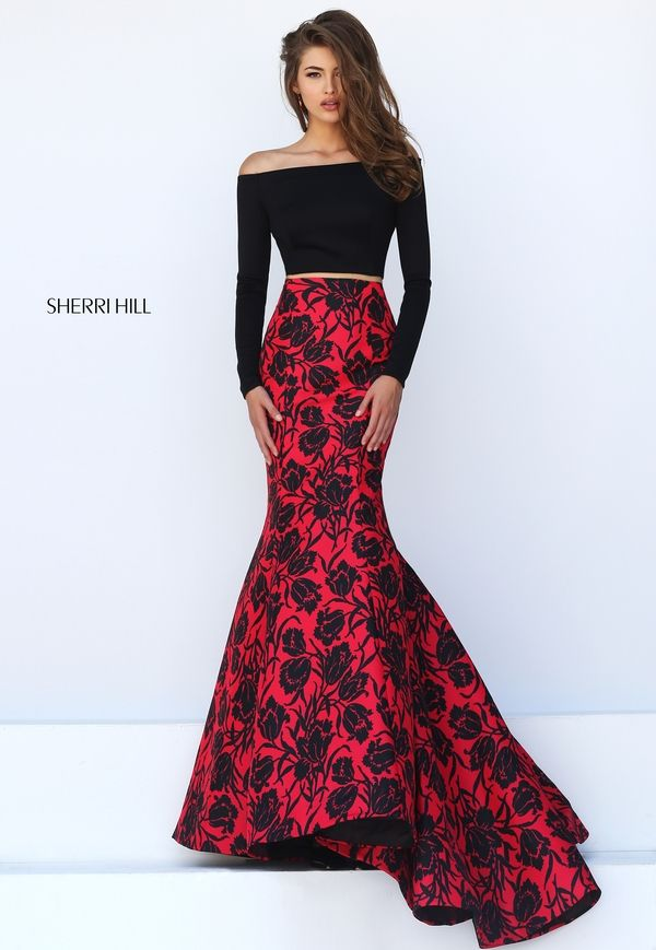 Black Off the Shoulder Top Evening Gown with a Red and Black Floral Bottom - Sherri Hill 50127