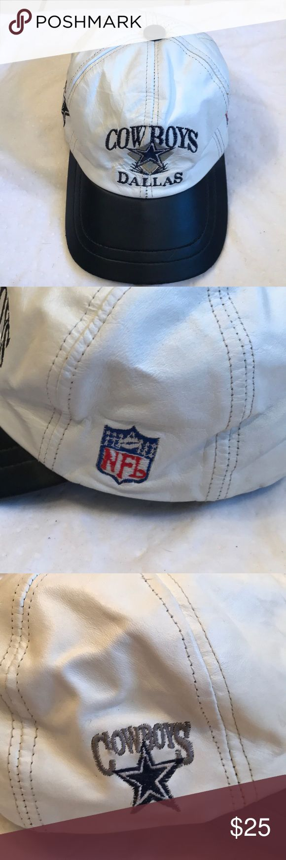 Vintage Dallas Cowboys NFL Leather Cap Vintage 90's NFL Leather Cap. Dallas Cowboys from the Troy Aikman, Emmitt Smith, Michael Irvin Super Bowl days!! Awesome condition and never worn. The suede lining inside is discolored a bit due to age. Was given to me by Michael Irvin, before they won the first Super Bowl.  I was Michael's Mercedes Sales Lady 😃 NFL Accessories Hats