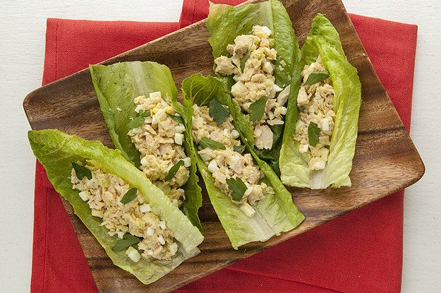 NO-MAYO TUNA SALAD IN ROMAINE CUPS Makes 1 serving Ingredients 1 5-oz can tuna in water, drained 1 tablespoon olive oil 1 teaspoon dijon mustard 1 hard boiled egg for women; 2 hard boiled eggs for men, finely chopped 1/2 stalk celery, minced kosher salt and freshly ground pepper 4 large romaine leaves 1 teaspoon chopped parsley Procedure Combine first six ingredients in a small mixing bowl and mix with a fork until combined. Fill 4-6 large romaine leaves with tuna salad and sprinkle with…