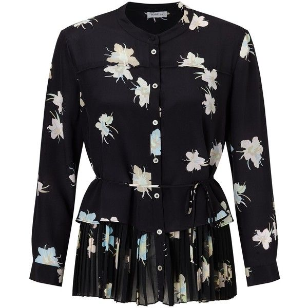 Marella Luchino Silk Floral Print Blouse, Black (£175) ❤ liked on Polyvore featuring tops, blouses, shirts, extra long sleeve shirts, silk blouse, layering shirts, long-sleeve peplum tops and floral long sleeve shirt