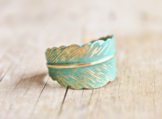 Verdigris Feather Ring - Hand Forged Brass Feather Ring - Shabby Chic, Adjustable, Bridesmaids Jewelry, Woodland