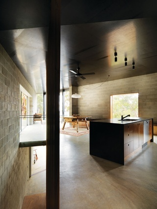 Kitchen / living zone at Big Hill by Kerstin Thompson Architects.