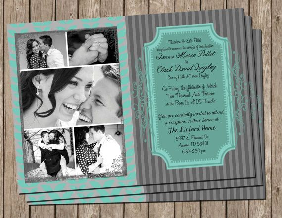 Turquoise and grey Wedding Invitation by MissBlissInvitations, $15.00
