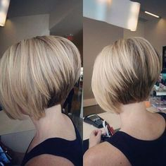 Pretty Short Stacked Bob Haircut with Straight Hair