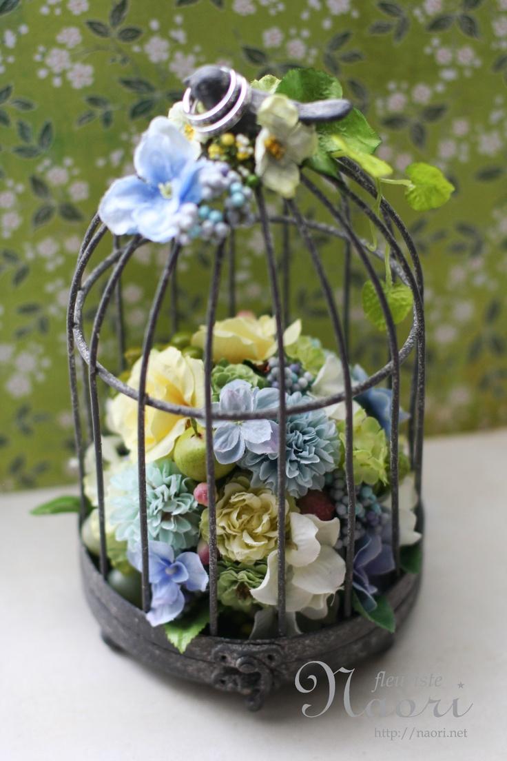 鳥かごのリングピロー Bird Cage Ringpillow Blue hydrangea