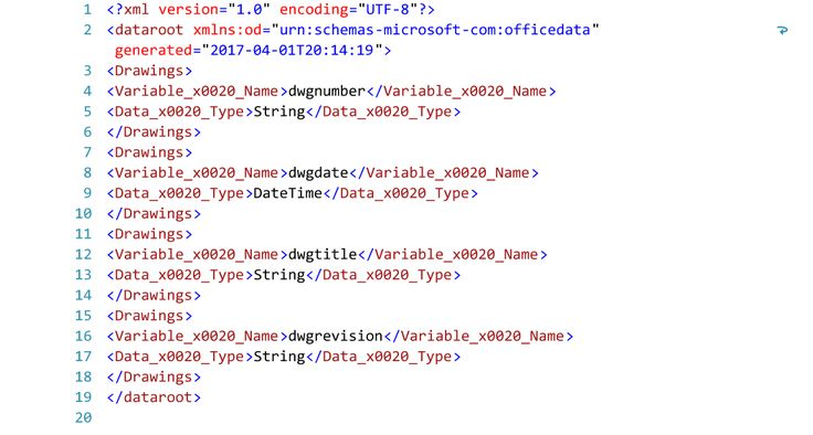 Listing of XML Code Generated from a Report in Access 2013.  Text Editor - Visual Studio 2015.
