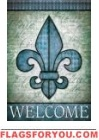Welcome Fleur De Lis Garden Flag