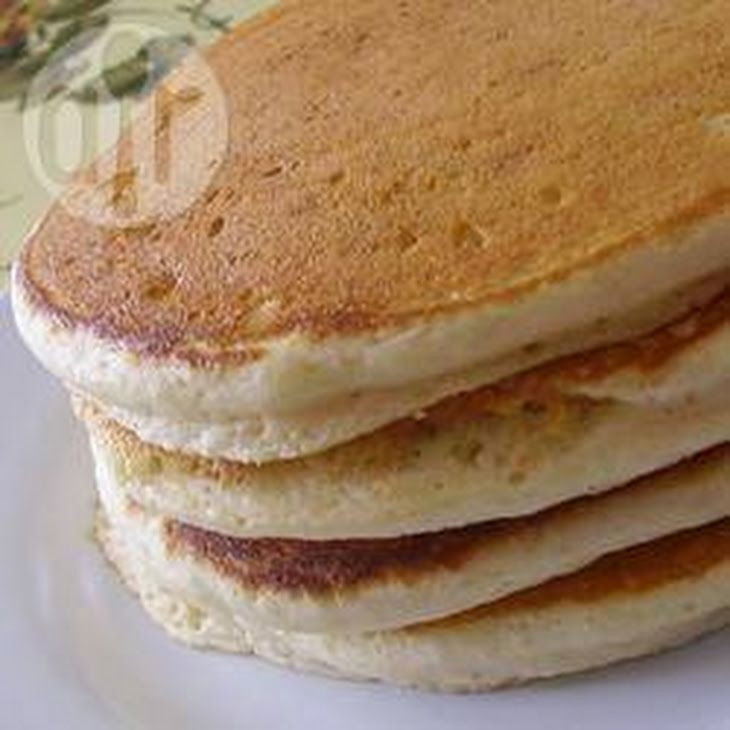 Fluffy American-style pancakes Recipe Breakfast and Brunch with milk, plain flour, medium eggs, granulated sugar, salt, butter, baking powder
