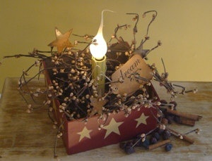 Primitive Electric Candle With Pip Berries and Rusty Tin by kshopa, $19.00