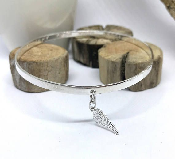 Sterling silver personalised angel bangle.  Angel wing charm