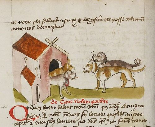 The ultimate medieval doghouse, complete with side chapel. Four Dogs before a Doghouse in a book of fables, German, late 1400s.